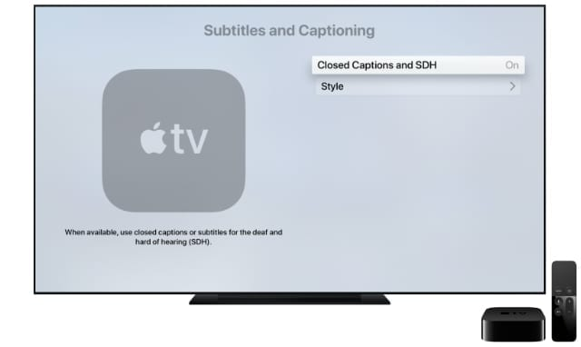 Subtitles settings from Apple TV