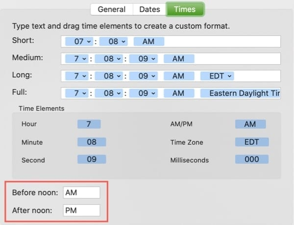 Time Display AM PM-Mac