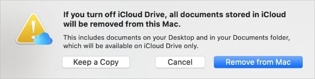iCloud Drive alert offering to keep a copy of documents