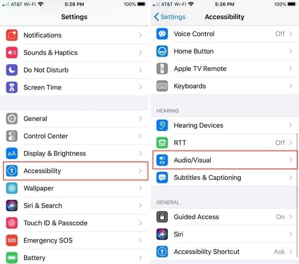 Accessibility AudioVisual iPhone