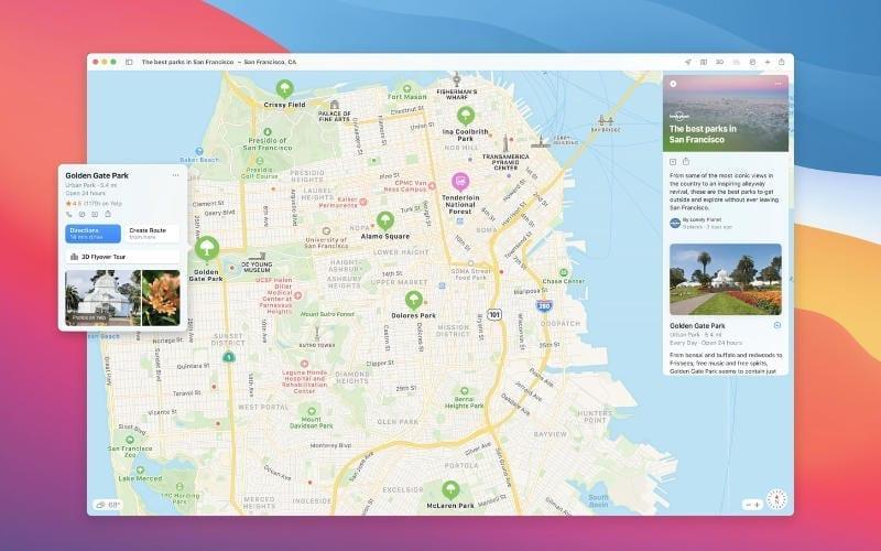 Apple Maps in macOS Big Sur