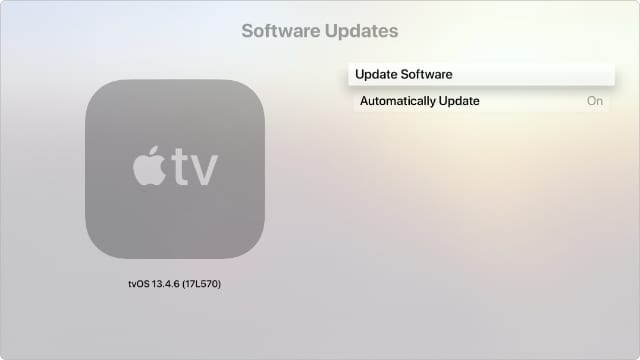 Apple TV Update Software System settings