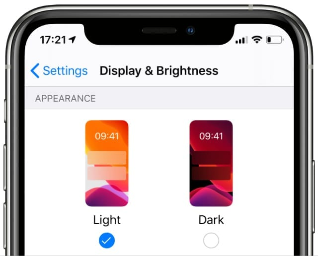 Display & Brightness settings on Light mode
