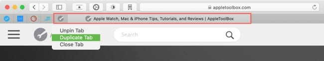 Duplicate a pinned tab in Safari
