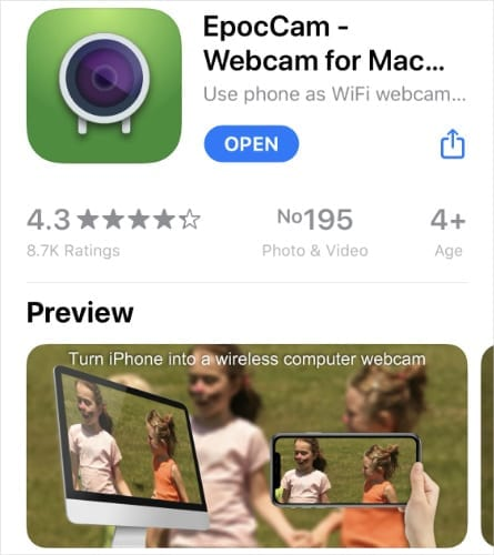 EpocCam app in iPhone APp Store