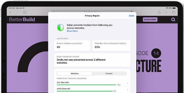 Privacy Report in Safari on iPadOS 14