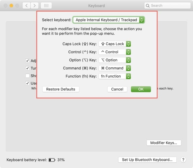 Remap Modifier Keys Mac