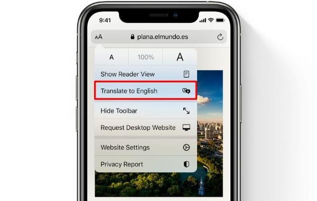 Translate to English button in Safari on iOS 14
