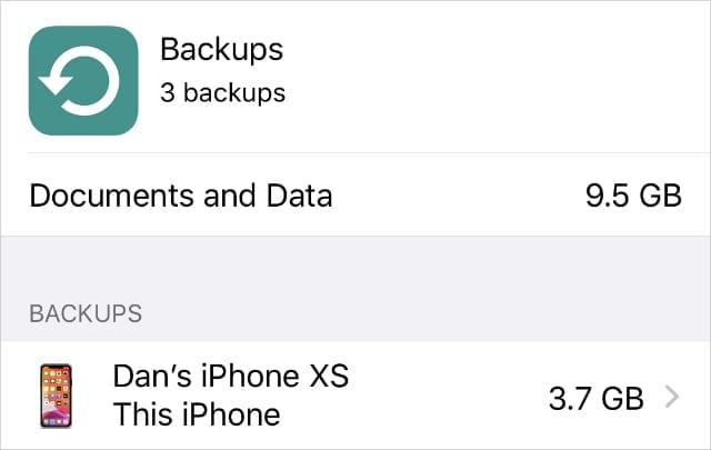 iCloud Backups in iCloud Settings