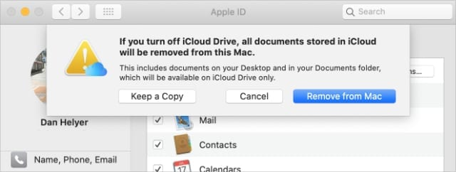iCloud Drive Keep a Copy option on Mac