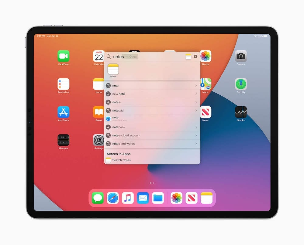 iPadOS 14 Spotlight