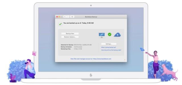 Backblaze backup window on laptop