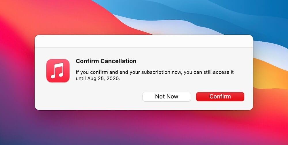 Confirm subscription cancellation
