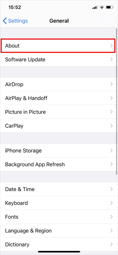 General Settings on iPhone highlighting About option