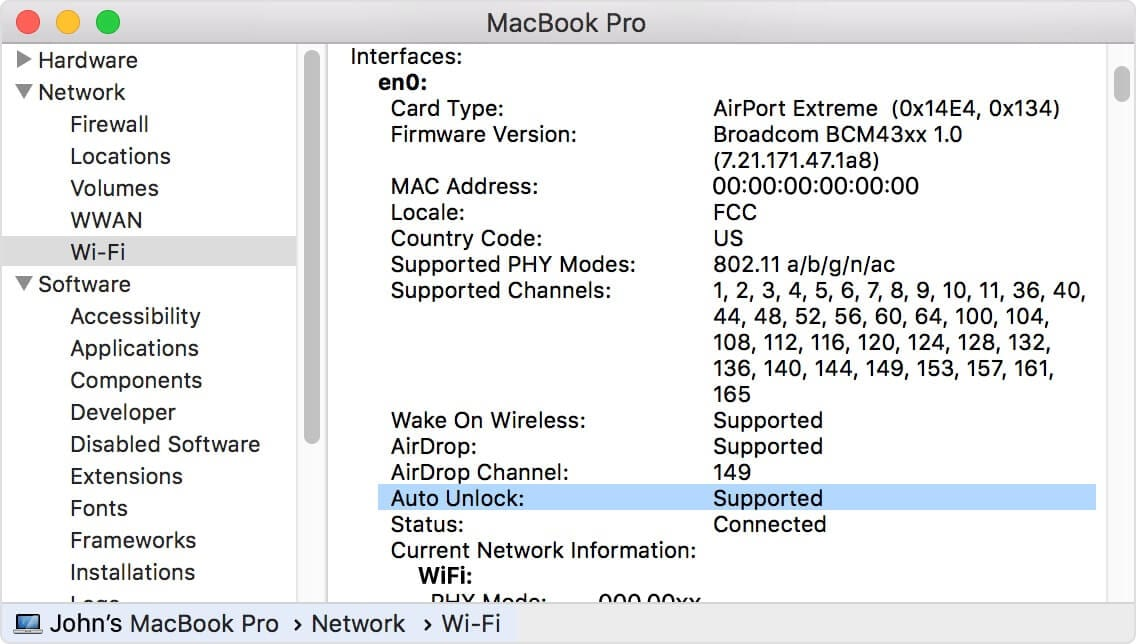 MacBook Pro Auto Unlock Supported