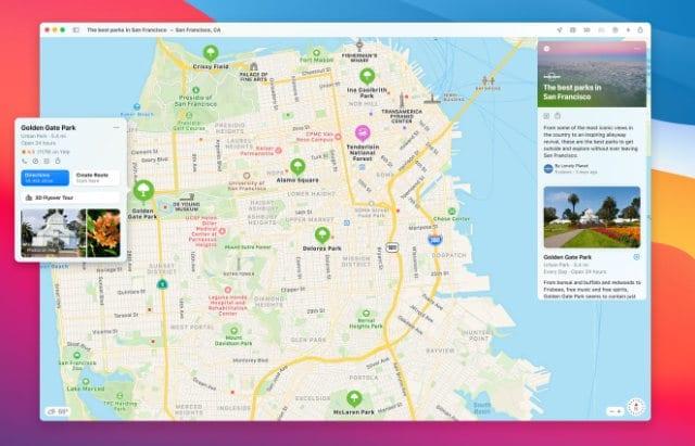 Maps app in macOS Big Sur