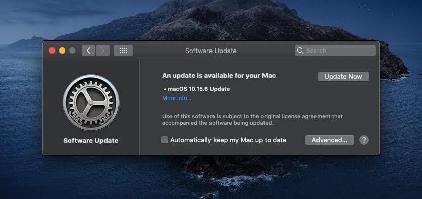 New macOS Catalina Software Update