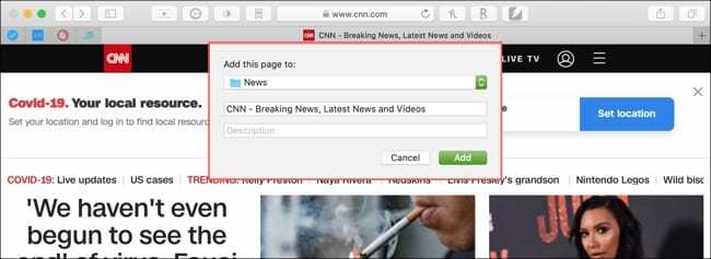 Add a bookmark Safari Mac