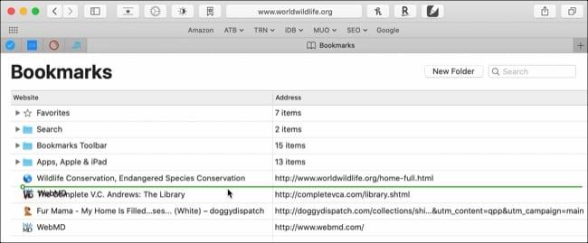 Drag to arrange bookmarks Safari Mac
