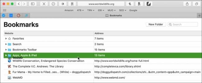 Drag to arrange bookmarks into a folder Safari Mac