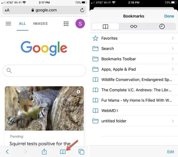 Bookmark list Safari iPhone