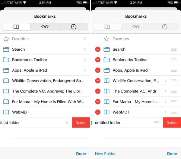 Delete a bookmark Safari iPhone
