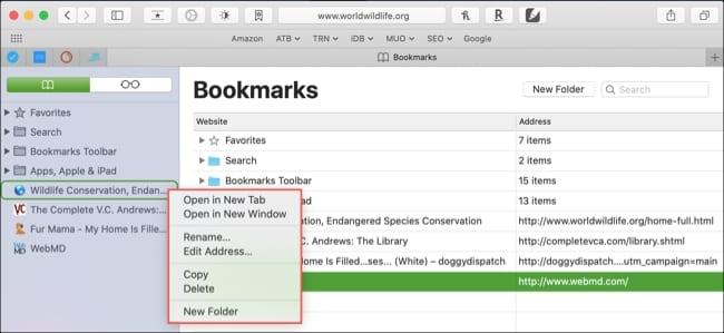 Edit bookmark Safari Mac