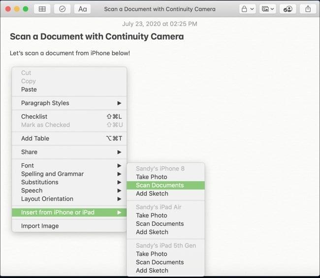 Scan Document Continuity Camera-Mac iPhone