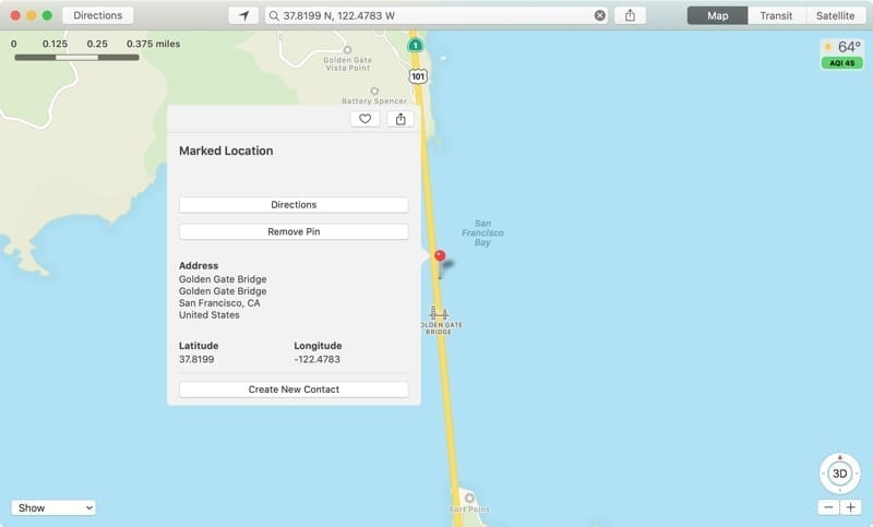 See GPS Coordinates Maps-Mac