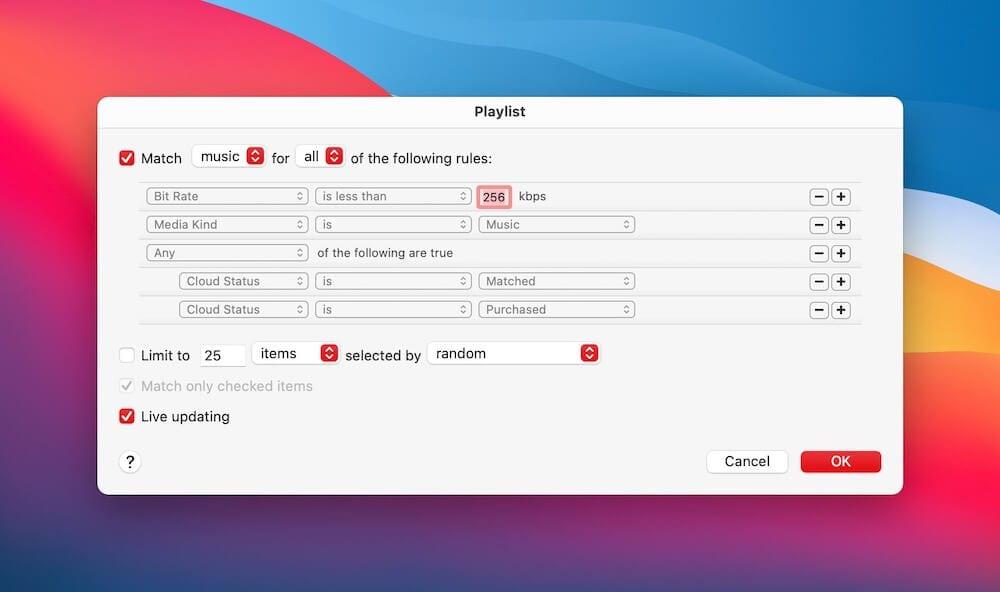 Smart Playlist iTunes Match Rules