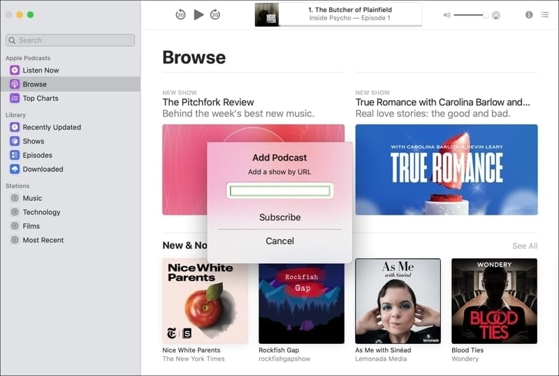 Subscribe Podcasts URL on Mac