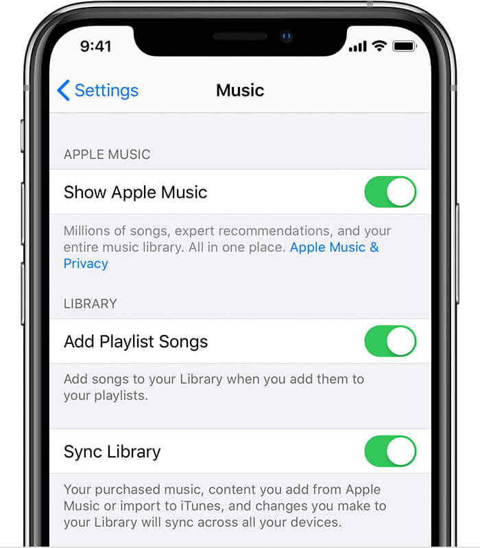 Sync Library on iPhone