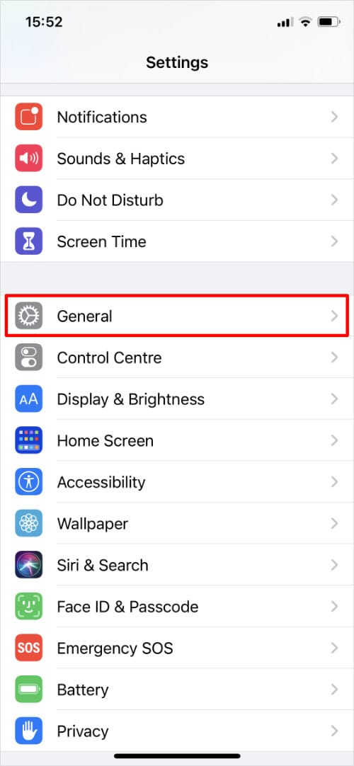iPhone Settings highlighting General opton
