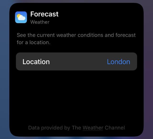 Weather widget settings on iPhone