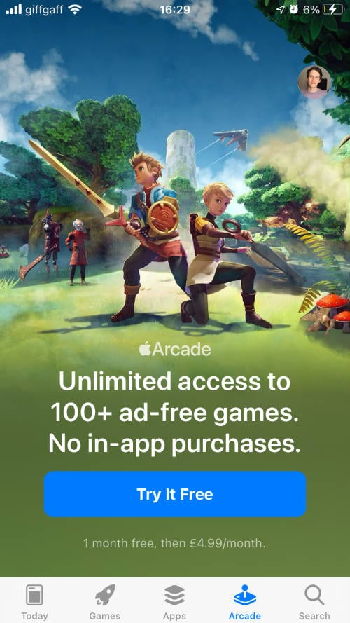 Apple Arcade free trial page on iPhone