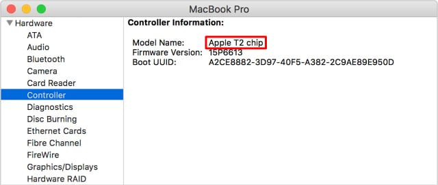 Apple T2 chip in System Report window