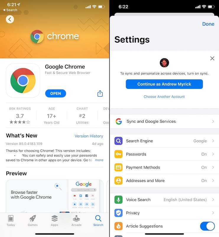 Change your Default Browser iOS 1