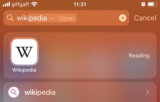 Searching for Wikipedia in Spotlight on iPhone
