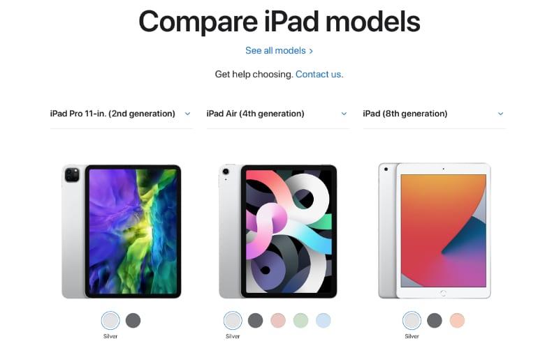 iPad model comparison on Apple website