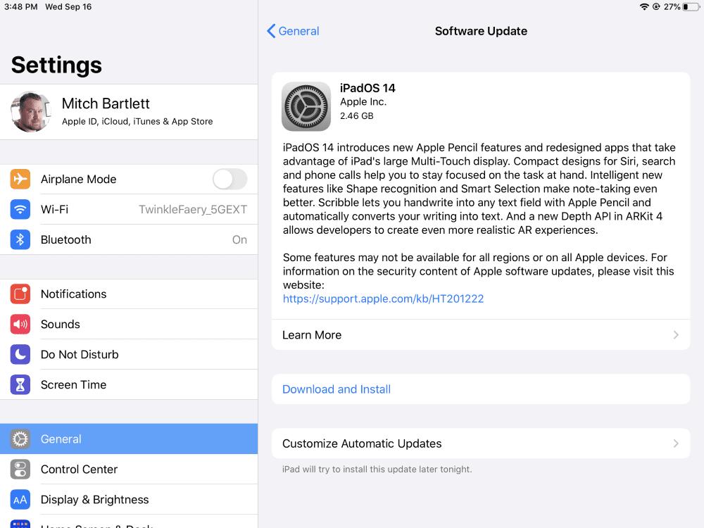 iPadOS 14 Update Prompt