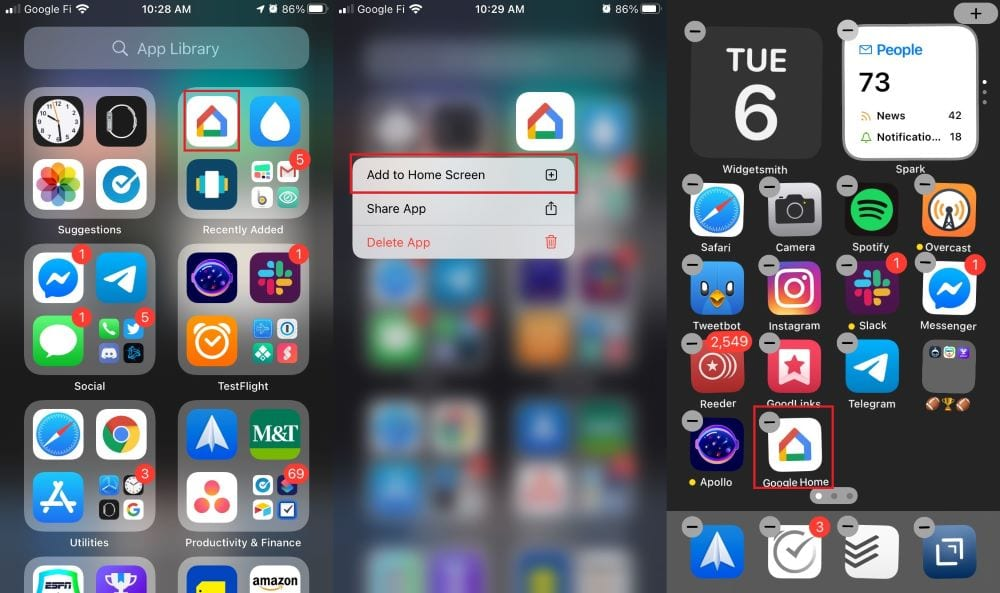 Add Apps to Home Screen from App Library