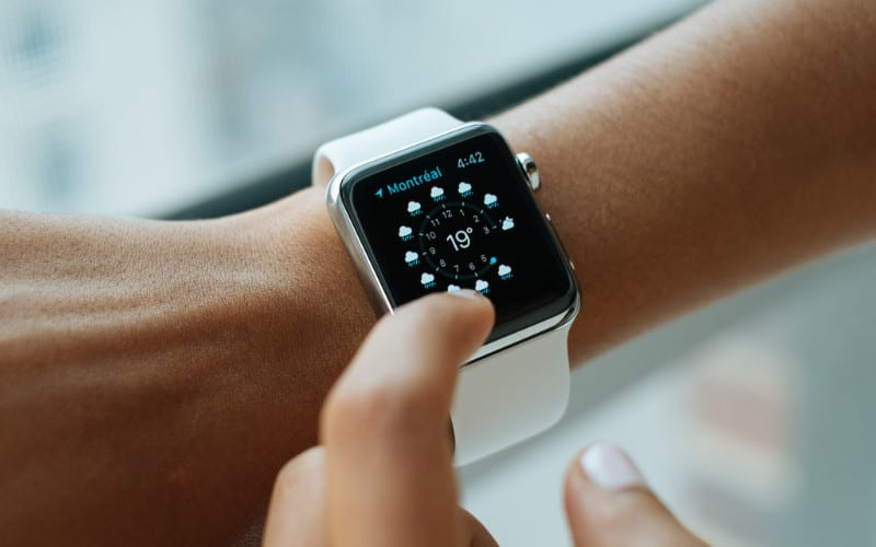 Apple Watch Weather app on person's wrist