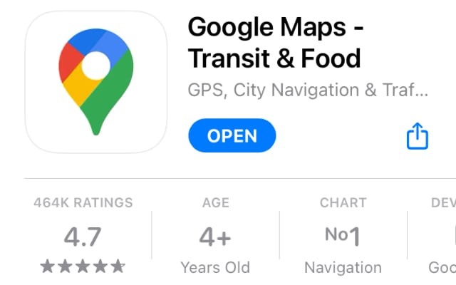 Google Maps in App Store