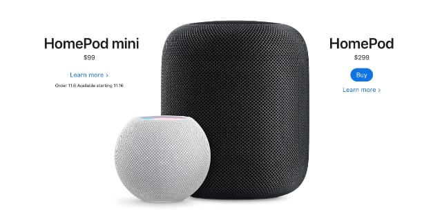 HomePod and HomePod mini prices