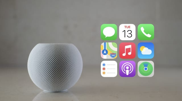 HomePod mini with available app icons