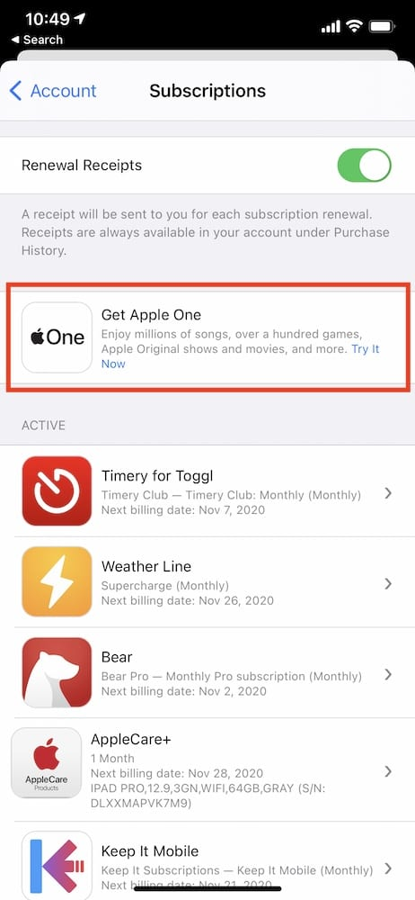 Sign up for Apple One Steps 1
