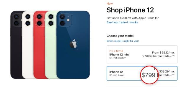 iPhone 12 $799 price on Apple website