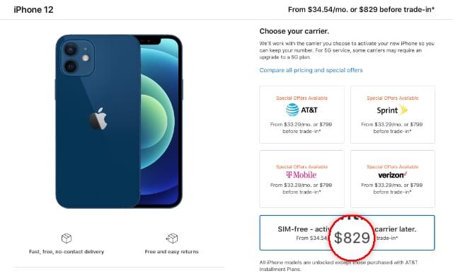 iPhone 12 unlocked price