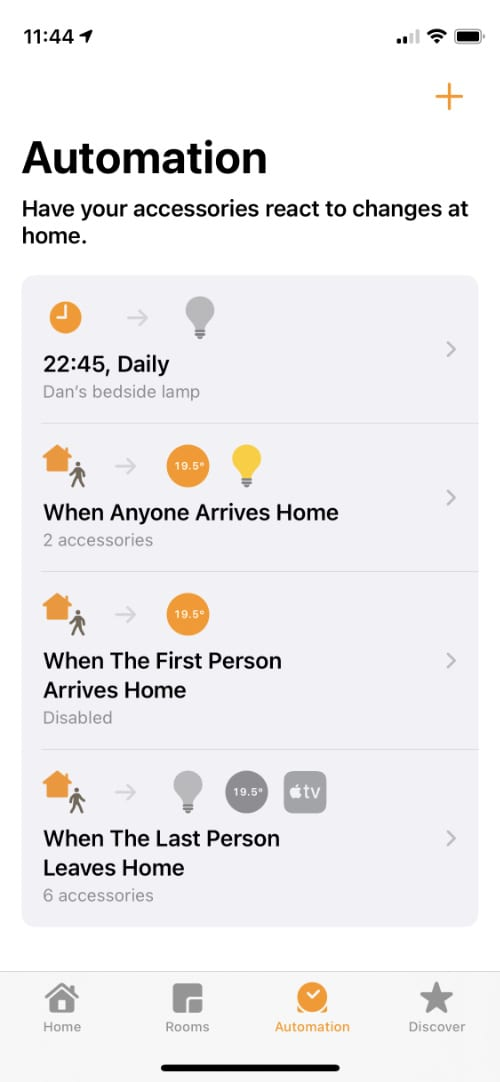 Automation page in Apple Home app