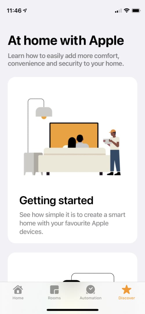 Discover page in Apple Home app